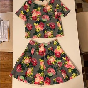 H&M floral two piece outfit